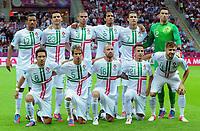 Fotball<br /> 21.06.2012<br /> Kvartfinale EM <br /> Tsjekkia v Portugal<br /> Foto: Witters/Digitalsport<br /> NORWAY ONLY<br /> <br /> Team Portugal oben v.l. Nani, Helder Postiga, Pepe, Bruno Alves, Cristiano Ronaldo, Torwart Rui Patricio<br /> unten v.l. Joao Moutinho, Fabio Coentrao, Raal Meireles, Joao Pereira, Miguel Veloso<br /> Fussball EURO 2012, Viertelfinale, Tschechien - Portugal<br /> Lagbilde Portugal