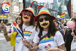 April 28, 2019 - Tokyo, Japan - Supporters of the lesbian, gay, bisexual and transgender community (LGBT) march during the Tokyo Rainbow Pride 2019 parade. Organizers claim that 10,000 LGBT supporters wearing colorful costumes participated in the parade starting from Yoyogi Park. (Credit Image: © Rodrigo Reyes Marin/ZUMA Wire)