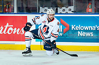 KELOWNA, CANADA - SEPTEMBER 22: Kobe Mohr #42 of the Kamloops Blazers kneels on the ice during warm up against the Kelowna Rockets on September 22, 2018 at Prospera Place in Kelowna, British Columbia, Canada.  (Photo by Marissa Baecker/Shoot the Breeze)  *** Local Caption ***