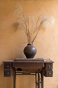 Vase with dry plants on drawer, Pigs Inn, Bishan, Anhui Province, China