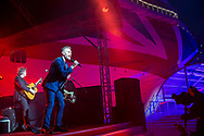 """Britain's largest and most environmentally-friendly cruise ship is named in a record-breaking virtual ceremony.<br /> <br /> Gary Barlow <br /> <br /> Britain's largest and most environmentally-friendly cruise ship, P&O Cruises Iona, has been officially named in a very contemporary ceremony with a record-breaking virtual audience.<br /> <br /> Iona, powered by liquefied natural gas, ground-breaking for the UK cruise industry and one of the cleanest fuels in the world, arrived for the first time into her home port of Southampton this morning ahead of tonight's official naming ceremony.<br /> <br /> The ship was officially named tonight by Dame Irene Hays, chair of Hays Travel, Britain's largest independent travel agency, in a glittering quayside ceremony by the bow of the ship. <br /> <br /> The event, held at sunset, was hosted by Jo Whiley and broadcast to a """"virtual"""" audience of over 25,000 guests. The highlight of the show was a rousing set from Iona's music director Gary Barlow performing two iconic Take That hits """"Greatest Day and """"Rule the World"""" against the backdrop of a spectacular laser show.<br /> <br /> A specially produced Nebuchadnezzar (equivalent to 20x 750ml bottles) of Alex James's Britpop cider smashed against the hull of the ship in spectacular style to bring it good fortune in the future.  <br /> There was also a special performance by The Commonwealth Youth Orchestra and Choir and Mica Paris singing Believe, a song which was composed by Simon Haw MBE and was dedicated to Her Majesty The Queen, head of the Commonwealth, for its 70th anniversary in 2019.<br /> <br /> Picture date Sunday 16th May, 2021.<br /> Picture by James Robinson. Contact +447544 044177 chris@christopherison.com<br /> <br /> For further press information please contact: <br /> Michele Andjel, michele.andjel@carnivalukgroup.com 023 8065 6653 / 07730 732 072<br /> Laura Tattam, laura.tattam@pocruises.com 02380 656651 / 07771 283 845<br /> Jenny Hadley, jenny.hadley@pocruises.com"""