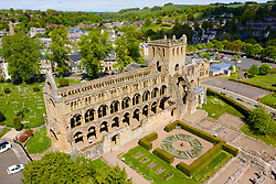 Aerial view of Jedburgh Abbey in Scottish Borders, Scotland, UK