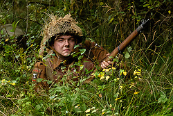 Reenactors Portaying members of the 49 West Riding Polar Bear Division take part in a rivate battle on Ellington Banks training area Near Ripon<br /> 09 October2021<br /> <br /> www.pauldaviddrabble.co.uk<br /> All Images Copyright Paul David Drabble - <br /> All rights Reserved - <br /> Moral Rights Asserted -