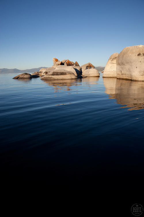 """""""Boulders at Lake Tahoe 2"""" - These boulders were photographed from a kayak early in the morning at Lake Tahoe, near Speed Boat Beach."""