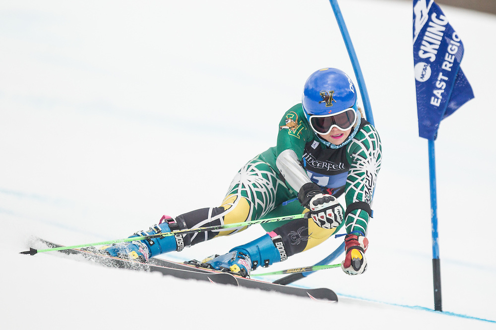 Elise Tefre of the University of Vermont, skis during the second run of the women's giant slalom at the Middlebury Snow Bowl on February 22, 2014 in Hancock, VT. (Dustin Satloff/EISA)