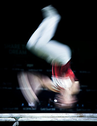 Canada's Rene Cournoyer during the Men's Parallel Bars at the Coomera Indoor Sports Centre during day five of the 2018 Commonwealth Games in the Gold Coast, Australia.