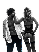 sexy stylish couple  in silhouette on white background