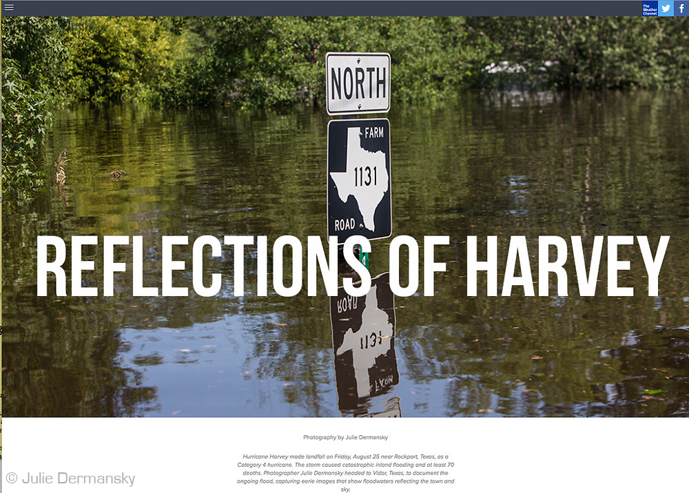 Hurricane Harvey made landfall on Friday, August 25 near Rockport, Texas, as a Category 4 hurricane. The storm caused catastrophic inland flooding and at least 70 deaths. Photographer Julie Dermansky headed to Vidor, Texas, to document the ongoing flood, capturing eerie images that show floodwaters reflecting the town and sky. https://features.weather.com/reflections-of-harvey/