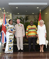 The Prince of Wales and Duchess of Cornwall are greeted by Ghanaian President Nana Akufo-Addo and First Lady Rebecca Akufo-Addo at Jubilee House in Accra, Ghana, on day three of their trip to west Africa.