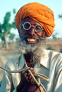 INDIA, PORTRAITS Portrait of Rajasthani man in rural village nr Bikaner