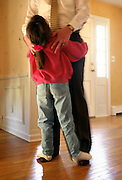 NJ, Morris County, Northeast, Daughter dancing on father's feet