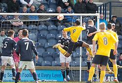Falkirk's Lyle Taylor heads..Raith Rovers 0 v 0 Falkirk, 27/4/2013..© Michael Schofield.