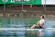 Bled, SLOVENIA, FRA M1X, Julien BAHAIN, buzzzed by a duck after the final of the men's single sculls, 1st FISA World Cup. Third day. Rowing Course. Lake Bled.  Sunday  30/05/2010  [Mandatory Credit Peter Spurrier/ Intersport Images]