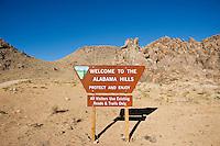 Information sign at entrance of Alabama HIlls, Owen's Valley, California