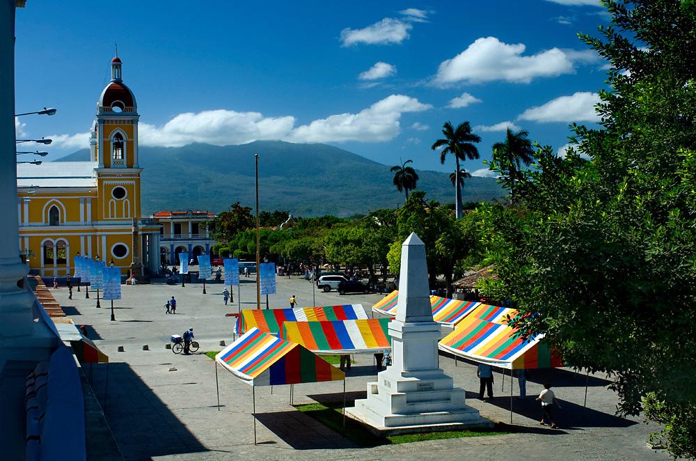 Nicaragua / Granada / Independence Plaza / Cathedral of Granada / Mombacho Volcano