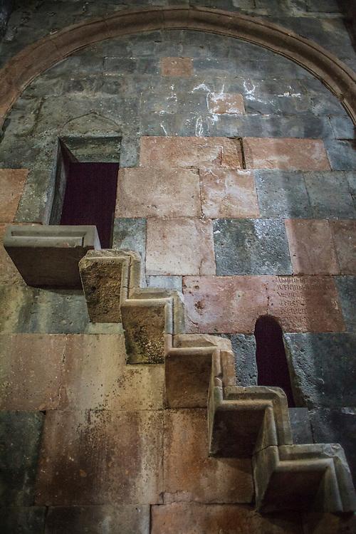 Interior wall of Hovhannavank Apostolic Church. Built in 1216. Armenia, 2014.