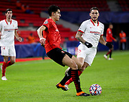 Nayef Aguerd of Stade Rennais, Lucas Ocampos of Sevilla FC during the UEFA Champions League, Group E football match between Stade Rennais and Sevilla FC (FC Seville) on December 8, 2020 at Roazhon Park in Rennes, France - Photo Jean Catuffe / ProSportsImages / DPPI