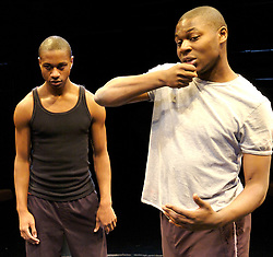 The Brothers Size<br /> Young Vic, London, Great Britain<br /> press photocall<br /> 9th November 2007<br /> <br /> Obi Abili (as Oshoosi)<br /> Nathaniel Martello White (as Elegba)<br /> <br /> Photograph by Elliott Franks