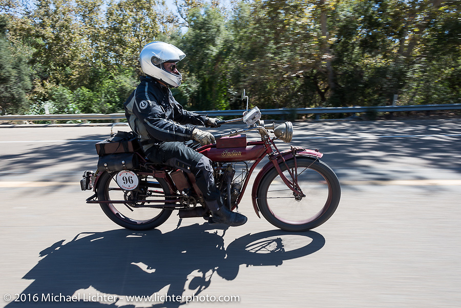 Doug Jones riding his 1914 Indian Model 260 Standard on the last day of the Motorcycle Cannonball Race of the Century. Stage-15 ride from Palm Desert, CA to Carlsbad, CA. USA. Sunday September 25, 2016. Photography ©2016 Michael Lichter.
