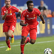 Daniel Sturridge, (right), and Jordan Henderson, Liverpool, in action during the Manchester City Vs Liverpool FC Guinness International Champions Cup match at Yankee Stadium, The Bronx, New York, USA. 30th July 2014. Photo Tim Clayton
