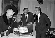 26/09/1962<br /> 09/26/1962<br /> 26 September 1962<br /> 40th Anniversary Party for Maidenform Inc., at the Gresham Hotel, Dublin. Picture shows blowing out the birthday cake (l-r): Mrs Robert Briscoe; Mrs Ida Rosenthal, Chairman of the Board of Maidenform; Mr Robert Briscoe T.D. and Mr John McGuire, Managing Director of Brown Thomas and Co. Ltd..