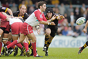 Wycombe. GREAT BRITAIN, 24th October 2004 <br /> Heineken Cup Rugby, London Wasps v Biarritz,  Adams Park, ENGLAND. Photo, Peter Spurrier/Intersport-images]<br /> Wasps [left] Lawrence Dallaglio and Jimmy O'Conner, breaking from the scrum to attack Biarritz's scrum half Dimitri Yachvili.<br /> ,