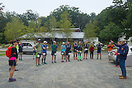Cragsmoor, New York - Runners listen to pre-race instructions at Sam's Point Preserve before competing in the Shawangunk Ridge Trail Run/Hike 32-mile race on Sept. 20, 2014.