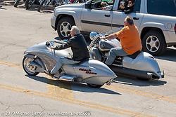 Arlen Ness riding beside Destination Daytona's Bruce Rossmeyer on their custom Jet Bikes during Bike Week. Daytona Beach, FL. Photography ©2005 Michael Lichter.