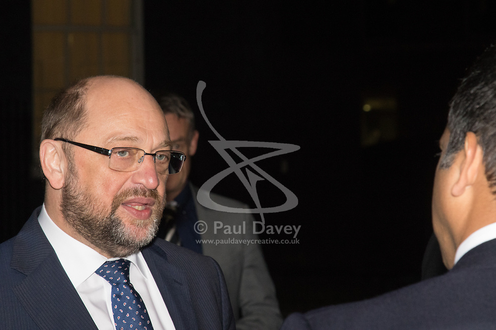 Downing Street, London, February 4th 2016. President of the European Parliament Martin Schulz meets with British Prime Minister David Cameron at 10 Downing Street. PICTURED: Martin Schulz speaks to the media after the brief meeting with David Cameron. ///FOR LICENCING CONTACT: paul@pauldaveycreative.co.uk TEL:+44 (0) 7966 016 296 or +44 (0) 20 8969 6875. ©2015 Paul R Davey. All rights reserved.