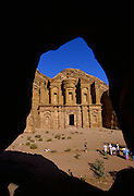 """Tourist gaze upon the rock-hewn Monastery in Petra, which was recently named one of the """"Seven Modern Wonders of the World"""" - Jordan"""
