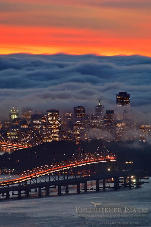 Fog over San Francisco and San Francisco Bay at sunset, California