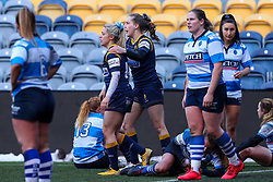 Brooke Bradley is congratulated on her try by Abi Kershaw of Worcester Warriors Women  - Mandatory by-line: Nick Browning/JMP - 09/01/2021 - RUGBY - Sixways Stadium - Worcester, England - Worcester Warriors Women v DMP Durham Sharks - Allianz Premier 15s