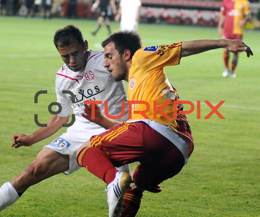 Galatasaray's Emre COLAK (R) during their Turkish Super League soccer match Galatasaray between Antalyaspor at the AliSamiYen Stadium at Mecidiyekoy in Istanbul Turkey on Saturday 08 May 2010. Photo by TURKPIX