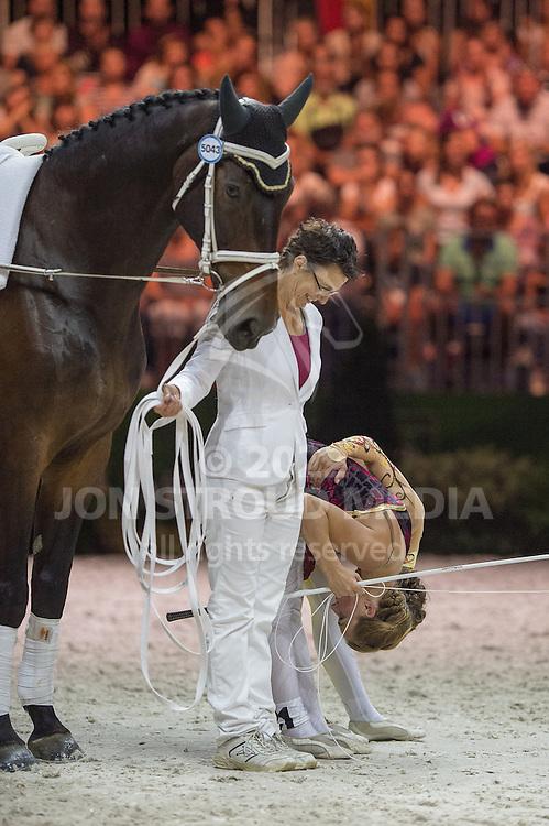 Esther Sneekes, Carola Sneekes, (NED), Nolan, Marjo Sneekes - Individuals Women Freestyle Vaulting - Alltech FEI World Equestrian Games™ 2014 - Normandy, France.<br /> © Hippo Foto Team - Jon Stroud<br /> 03/09/2014