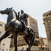 An equestrian statue of Don Pedro de Valdivia, the Spanish conquistador who founded Santiago in 1541, in Plaza de Armas in the center of Santiago de Chile.