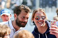 Jamie Dornan (fifty shades of grey) in a selfie with female fan during the Celebrity Pro-Am day at Wentworth Club, Virginia Water, United Kingdom on 23 May 2018. Picture by Phil Duncan.