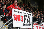 Leyton Orient fan protesting against the ownership of the club. EFL Skybet Football League two match, Leyton Orient v Doncaster Rovers at the Matchroom Stadium, Brisbane Road in Leyton, London on Saturday 18th March 2017.<br /> pic by Steffan Bowen, Andrew Orchard sports photography.