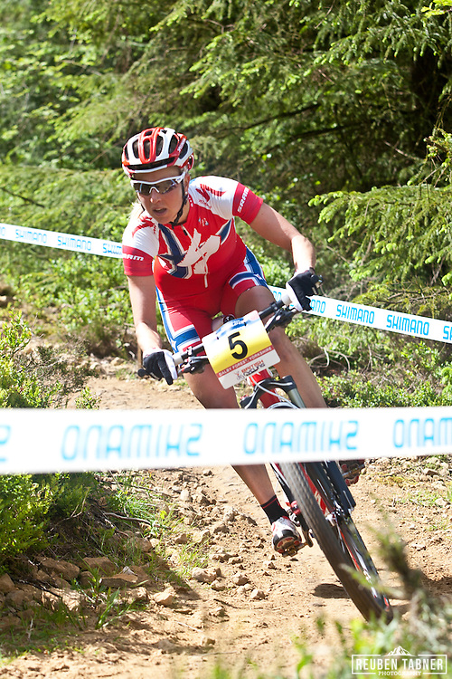 © Reuben Tabner. .Dalby Forest, North Yorkshire, UK  22/05/11. .Lene Byberg of Specialized Racing..Women's Elite Cross-Country Olympic 2,.2011 UCI Mountain Bike Cross-Country World Cup at Dalby Forest..Please see special instructions for usage rates. Photo credit should read: Reuben Tabner