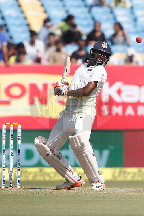 Ravichandran Ashwin of India avoid bouncer during day 4 of the first test match between India and England held at the Saurashtra Cricket Association Stadium , Rajkot on the 12th November 2016.<br /> <br /> Photo by: Deepak Malik/ BCCI/ SPORTZPICS