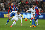 Alberto Paloschi of Swansea city (9) in action. Barclays Premier league match, Swansea city v Crystal Palace at the Liberty Stadium in Swansea, South Wales on Saturday 6th February 2016.<br /> pic by Andrew Orchard, Andrew Orchard sports photography.