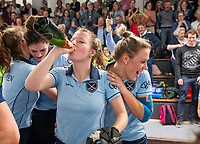 HAMBURG  (Ger) - Match 20,  for FINAL, LMHC Laren - Dinamo Elektrostal (Rus) (3-1).  Photo: European Champion , LMHC Laren.  Fabienne Roosen (Laren) , Lieke van Wijk (Laren)  Eurohockey Indoor Club Cup 2019 Women . WORLDSPORTPICS COPYRIGHT  KOEN SUYK