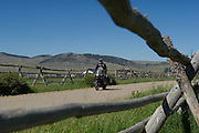 Passing homemade cattle corrals in Montana