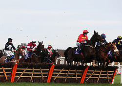 Klassical Dream ridden by Paul Townend (third from right) clears the first on the way to winning the Tote Pays Dividends Maiden Hurdle during day one of the Leopardstown Christmas Festival at Leopardstown Racecourse.