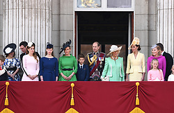 Princess Beatrice, Princess Eugenie, The Duchess of Cambridge, Duchess of Cornwall, Prince Edward, The Countess of Wessex, The Duchess of Cornwall, Autumn Phillips attending Trooping The Colour, Buckingham Palace, London. Picture credit should read: Doug Peters/EMPICS