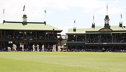 Both teams shake hands after Australia won the fourth test during day five of the Ashes Test match at Sydney Cricket Ground.