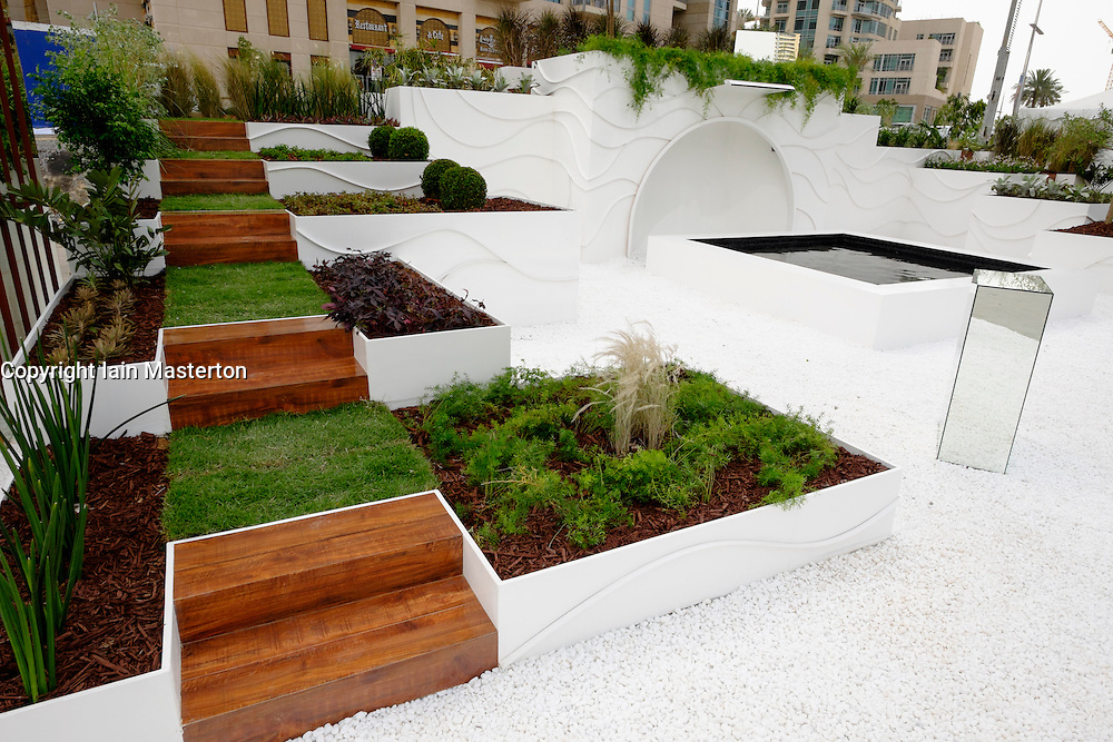 Dubai, 3rd April; The opening day of the first Dubai International Garden Competion. This is Steps of Heaven inspired by vertical architecture in Dubai.