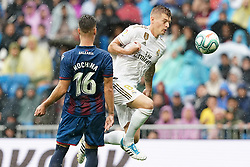 Real Madrid's Toni Kroos (r) and Levante UD's Ruben Rochina during La Liga Real Madrid v Levante UD football match at Santiago-Bernabeu stadium on September 14, 2019 in Madrid, Spain. Real won 3-2. Photo by Acero/AlterPhotos/ABACAPRESS.COM