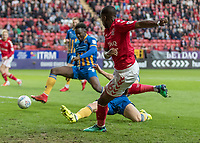 Football - 2017 / 2018 Sky Bet EFL League One - Play-Off Semi-Final, First Leg: Charlton Athletic vs. Shrewsbury Town<br /> <br /> Stephy Mavididi (Charlton Athletic FC) crosses into the box after a charging run at The Valley<br /> <br /> COLORSPORT/DANIEL BEARHAM
