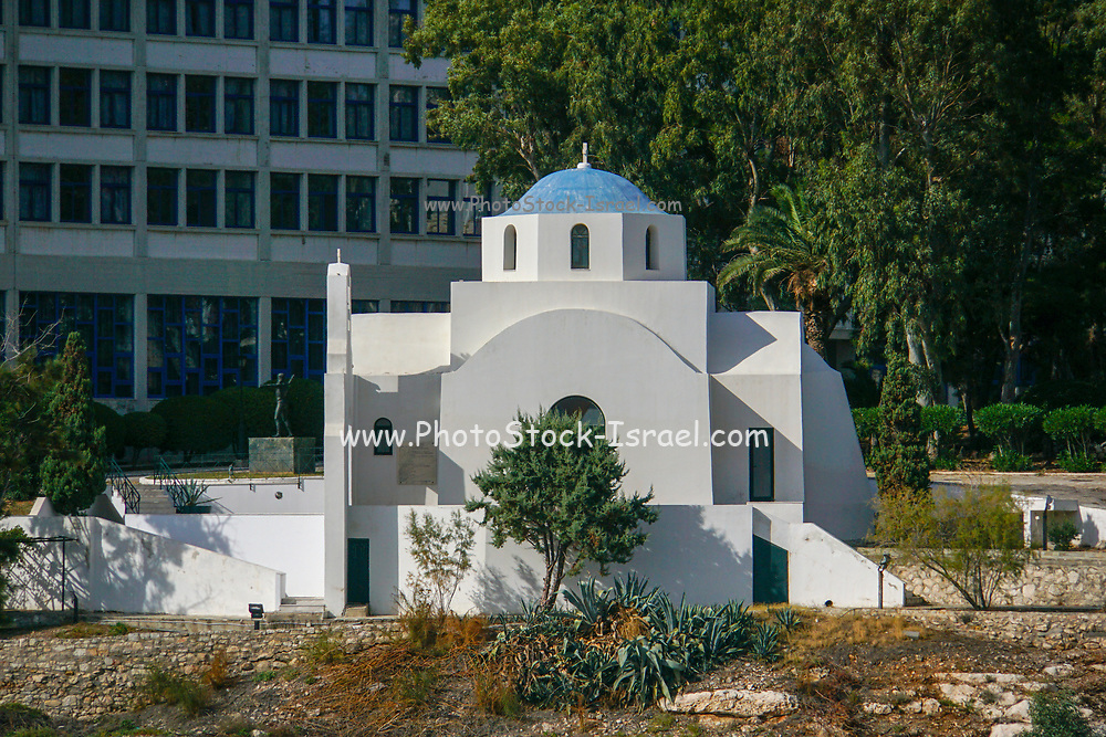 A whitewashed Greek Orthodox church in Athens, Greece