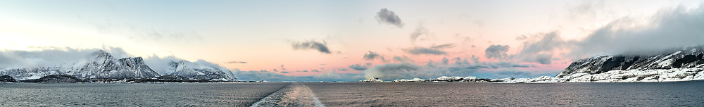 Arctic Dawn. Composite of 7 images taken with a Leica X2 camera (ISO 200, 24 mm, f/4, 1/60 sec). Raw images processed with Capture One Pro and AutoPano Giga Pro.